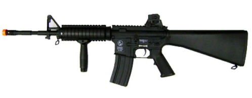 Photo picture of an airsoft m4 rifle by Colt. All black in color, with an orange shooting tip.