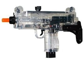 Photo of an airsoft electric mini uzi clear color see though gun which is a submachine gun replica army gun
