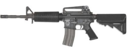 Photo picture of an Airsoft m4 called Systema Training Weapon M4A1 M4 A1, all black in color, with orange tip at the end of the barrel or muzzle