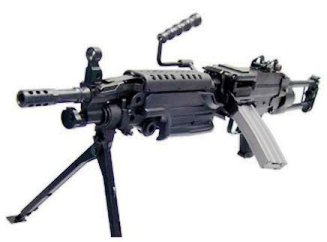 Picture of an Airsoft Machine Gun Classic Army M249 all black in color