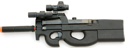 Picture of an Airsoft P90 Assault AEG Electric Rifle Gun - All Black in color