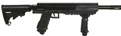 Picture of an Airsoft sniper rifle called Tiberius Arms T9, all black in color. It's beautiful!