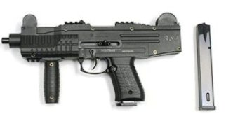 Photo of an Electric Airsoft Uzi gun, all black with extra clip