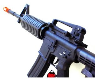 Photo of a full metal airsoft gun M4 rifle electric aeg all black in color