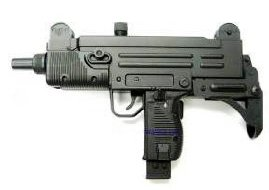 Photo of an airsoft electric uzi sub machine gun electric aeg all black, referred to the gangsta drive by gun.