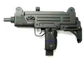 Photo of an airsoft electric uzi sub machine gun electric aeg all black, referred to the gangsta drive by gun.