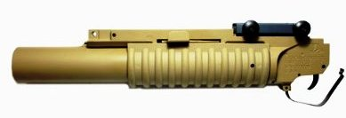 Photo of airsoft grenade launcher made in desert storm fashion, made by classic army. This one is long, yet tan in color.