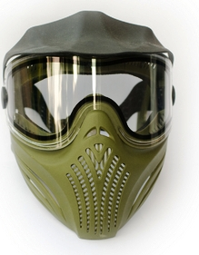 Photo of an Airsoft Mask, green in color, plastic shield to protect eyes from danger