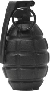 picture of an airsoft hand grenade all black shell covering