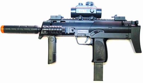 Picture of an Airsoft CYMA M7 Rifle, all black in color with an orange tip