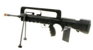 Photo image of a FAMAS machine AEG Black Airsoft gun