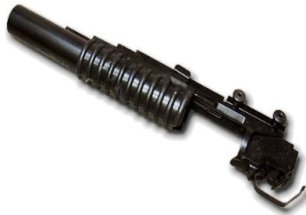 Picture of an airsoft grenade launcher (long), all black in color