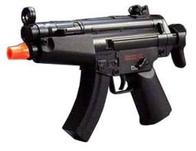 picture of black electric mini mp5 airsoft gun with orange tip