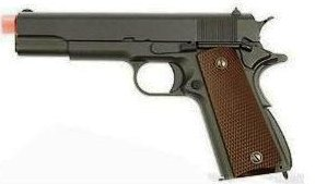 Picture of airsoft handgun pistol full metal gas blow back all black in color